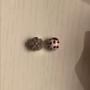Pink butterfly charm and flower charm- Pandora